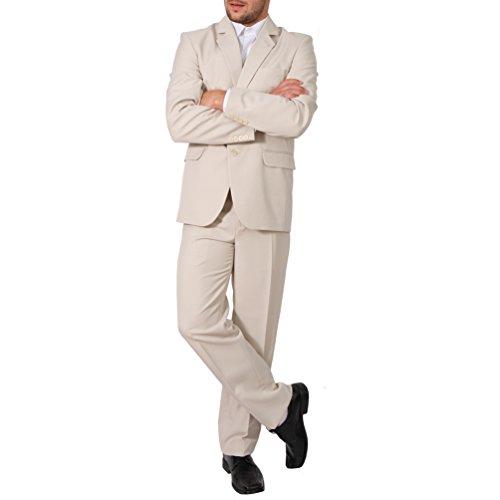 Candygirls Regular Herren Anzug 3Teiler Sakko Hose Weste Büro Business Hochzeit H10 (62, Beige)