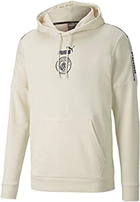 PUMA World Cup Soccer MANCHESTER CITY Mens MANCHESTER CITY FTBLCULTURE HOODY, Whisper White-Peacoat, XL