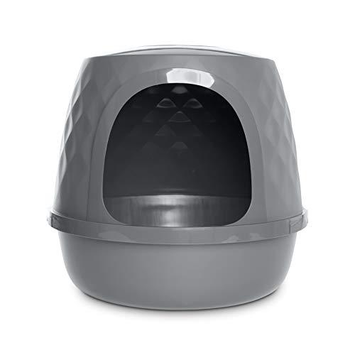 Petco Brand - So Phresh Geometric Covered Cat Litter Box, Regular, Grey