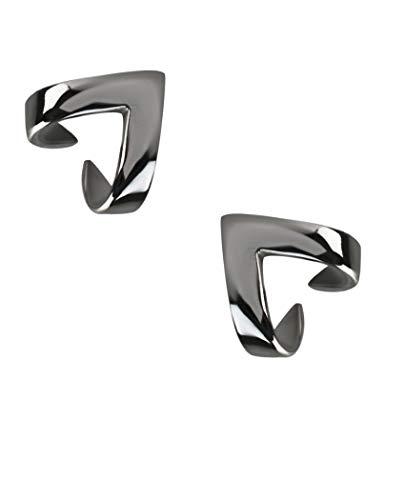 Silver Roots Black-tone Sterling Silver Minimalistic Ascending Delta Armor Jacket Earrings