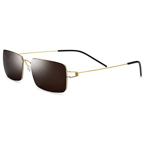 WHSS Sunglasses Gafas De Sol UV400 Gafas De Sol Ultra Ligeras Sin Marco for Hombre Mujer De Titanio con Marco Pequeño Gafas Cuadradas