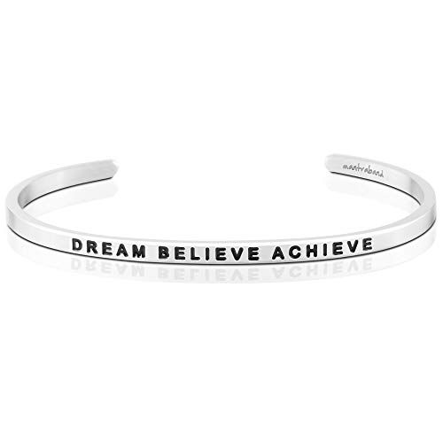 MantraBand Bracelet - Dream Believe Achieve - Inspirational Engraved Adjustable Mantra Band Cuff Bracelet - Silver - Gifts for Women (Grey)