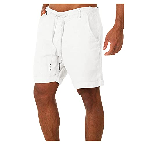 Qsctys Cotton Linen Elastic Waistband Shorts for Men, Summer Quick-Dry Stretchy Loose Fit Outdoor Lightweight Shorts White