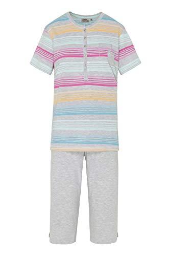 hajo Damen Schlafanzug Pyjama| Nachtwäsche Klima-Komfort - 2-teilig bestehend aus Oberteil und Hose in Capri Länge - Grau mit Streifen Blau Orange Pink