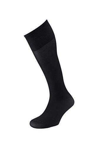EJECUTIVO - Calcetines Largos - Con Talla - Para Hombre - Tacto muy confortable, agradable y cómodo - Color Negro - Talla M - Pack de 3 calcetines