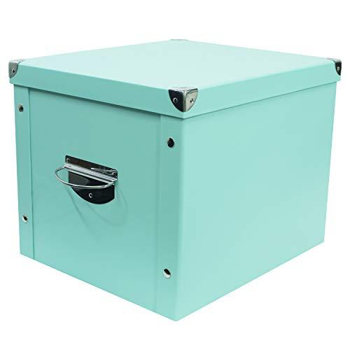 Decorative Storage Cardboard Boxes with Lip Sturdy Organizer Gift Boxes for Keepsake Toys Photos Memories Closet Nursery Office File Wardrobe Bookshelf Display Case (Blue, Medium Sizes)