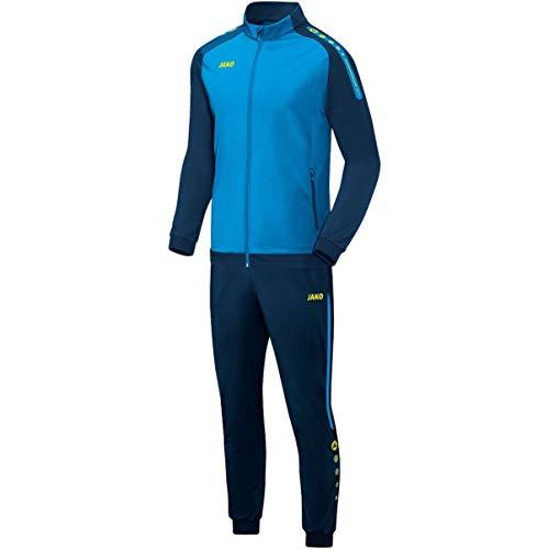 JAKO Kinder Champ Trainingsanzug Polyester, blau/Marine/Neongelb, 128