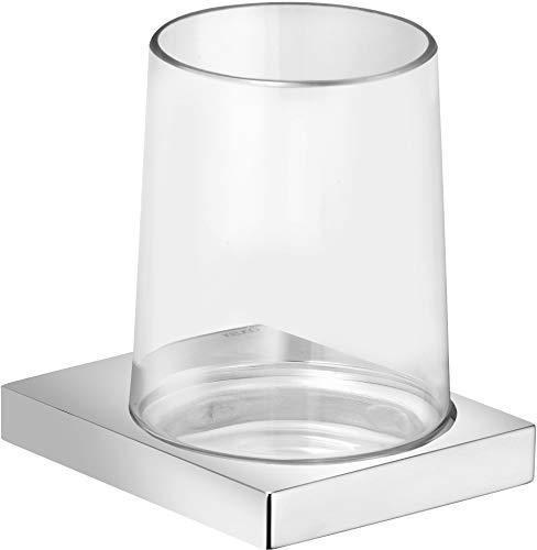 KEUCO Zahnputzbecher-Halter hochglanz-verchromt und Kristallglas klar, Glas mit Halter für Badezimmer, Zahnbürstenhalter, Wandmontage, Edition 11