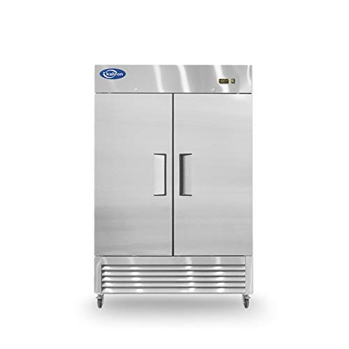 kalifon Reach-in Commercial Freezer 2 Door Stainless Steel Freezer with LED Lighting 49 cu.ft for Restaurant, Bar, Home, and Business