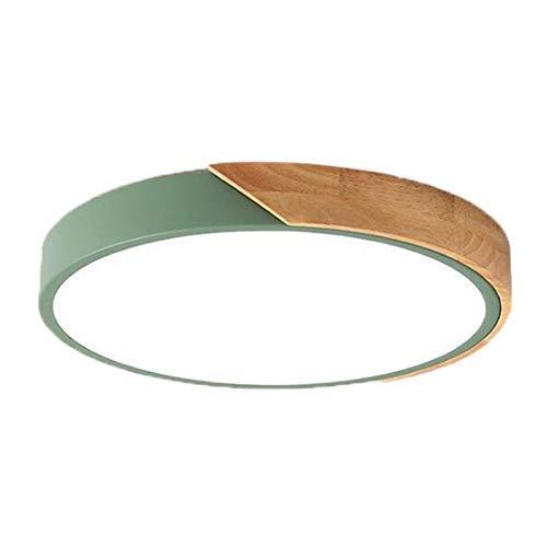 DXX-HR Nórdica de madera de roble LED ajustable redonda de techo dormitorio de la lámpara Lámparas verde los 40Cm