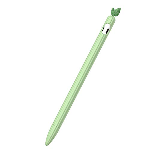 jiheousty Lindo Estuche de lápices de Silicona con cáscara de Hoja de Zanahoria, Funda para lápiz de Manzana, 1er 2do