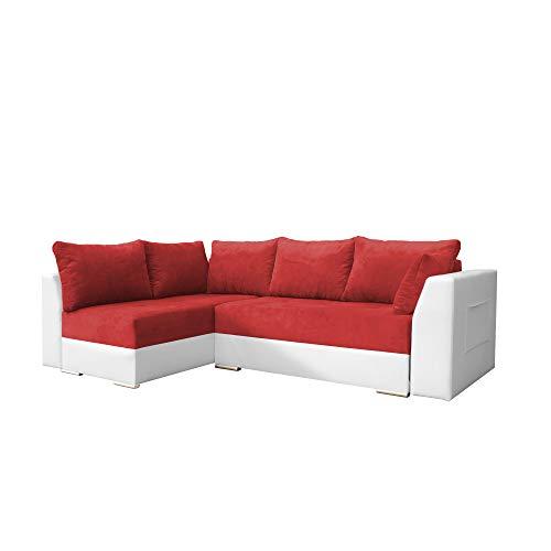mb-moebel Ecksofa mit Schlaffunktion Eckcouch mit Zwei Bettkasten Sofa Couch Wohnlandschaft L-Form Polsterecke Laos (Rot + Weiß, Ecksofa Links)