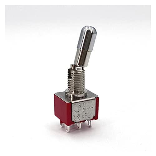 XIAOBMY Interruptor de Palanca SH T80-T Serie de Bloqueo Superior Redondo 6.35mm Panel Monte Mini Interruptor de Palanca 5A / 125VAC (Color : T8012 LKB)