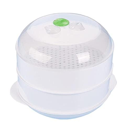 YUSHU - Vaporizador de plástico de doble capa, vaporizador de horno de microondas, vaporizador de plástico redondo con tapa, para horno de microondas, utensilios de cocina, conveniente y práctico