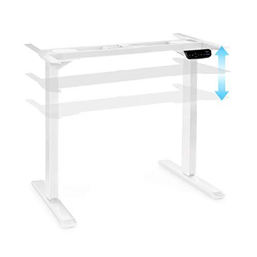 Oneconcept Multidesk Escritorio Regulable en Altura - Escritorio de pie y Sentado, Bastidor de Mesa, Mando eléctrico, Regulable en Altura: 62-128 cm, Regulable en Anchura: 110-170 cm, Blanco