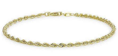 Carissima Gold Damen 9k (375) Gelbgold Hollow 2mm 40 PG Rope Kettenarmband 18cm/7zoll 1.22.0781