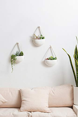 Mkono Ceramic Hanging Planter Wall Planters Set of 3 Modern Flower Plant Pots for Succulent Herb Air Plant Live or Faux… 2 These wall hanging planter can be used to add some vertical greenery to any wall in your home, great to display your lovely plants like cactus, herbs, succulents, air plants or other small plant. Beautifully for storage paint brushes, pens or other small things. Suitable for indoor and outdoor use. Material: white ceramic flower pot, leather strap and brass screws. Wide version of the plant pot will be better to display your plant collection. Wall hanging design is perfect for keeping your lovely plants out of the reach of pets and children! Bring modern design and industrial style to your wall with a leather strap and a solid brass screw. High fired porcelain creates a white smooth matte glaze look, and the interior is finished with glaze. Elevates the room and accentuates the beauty of your houseplants with its simple but sculptural presence.