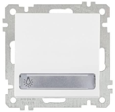 Pulsador con placa para nombre y luz blanca para interruptor empotrado serie Candela