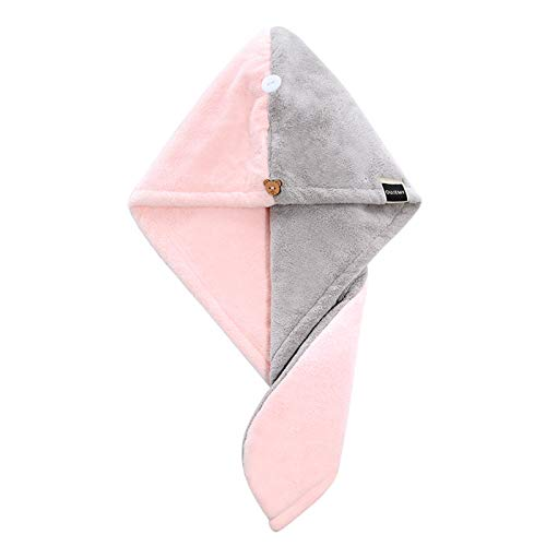 Toallas De Microfibra Ultra Absorbentes para Secar Pelo, Turbante con Aro Elástico, para Todos Los Estilos De Pelo,Cabello Rápido para Mujeres, 65X25Cm Gris Polvo