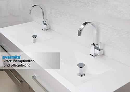 Intarbad ~ Badmöbel Doppelwaschtisch 160 cm mit Unterschrank Spiegelschrank Grau Matt Lack IB1120
