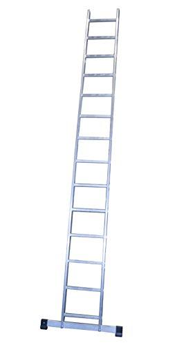 Escalera profesional de aluminio de apoyo simple con barra estabilizadora 14 peldaños serie basic