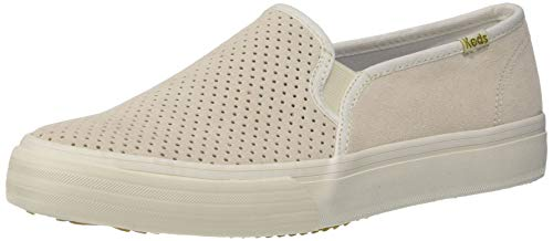 Keds Women's Double Decker Perforated Suede Sneaker, Cream, 9