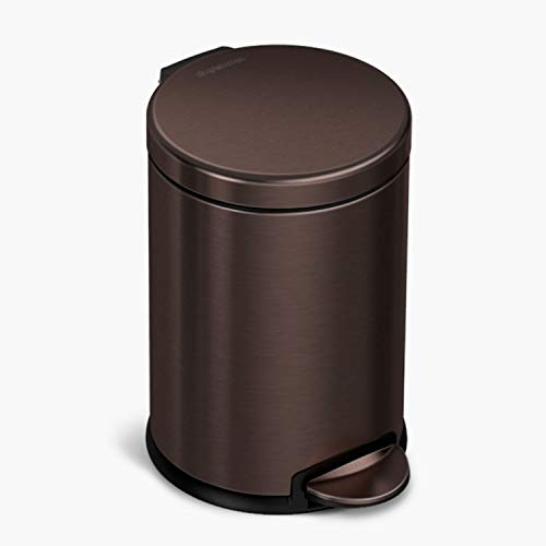 simplehuman 4.5 Liter / 1.2 Gallon Round Bathroom Step Trash Can, Dark Bronze Stainless Steel