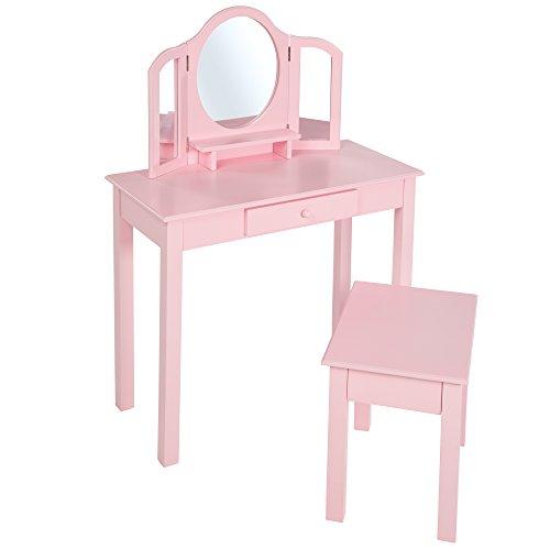 Roba Schmink- en kaptafel met kruk, kinderdressoir/make-uptafel met make-upspiegel en kruk voor meisjes, roze