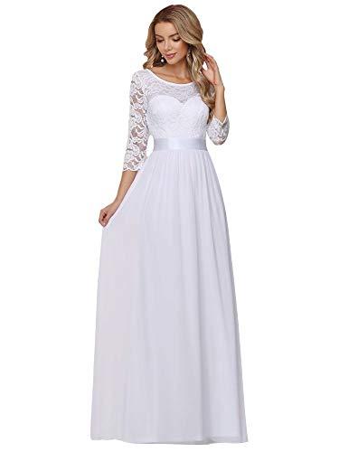 Ever-Pretty Damen Chiffon A-Linie Elegant Bodenlang Empire mit 3/4 Ärmel Brautkleid Hochzeitskleider Weiß 46