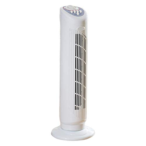Daewoo COL1066 30Inch Tower, 3 Speed Settings, 1 Hour Timer, Portable Floor Fan, Sleek Design White, One Size