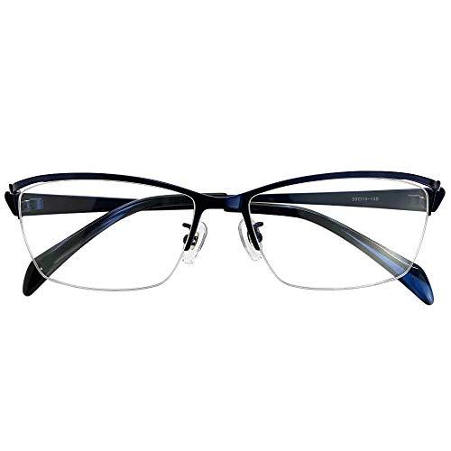 遠近両用メガネ セイブルス ハーフリム DK2413 (ネイビー) (メンズセット) 全額返金保証 境目のない 遠近両用 老眼鏡 (瞳孔間距離:男性平均62mm〜64mm, 近くを見る度数:+3.0)