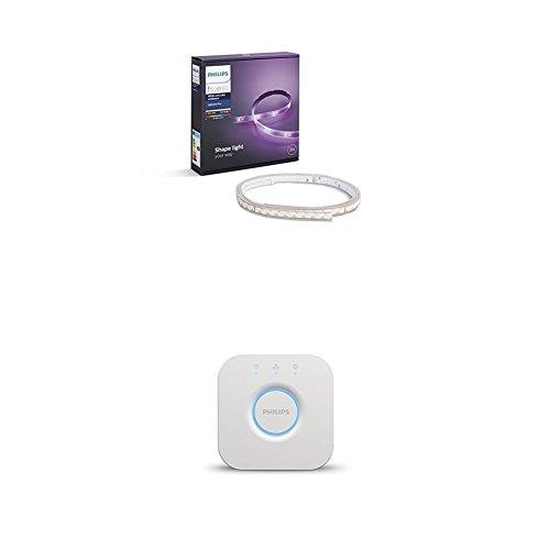 Philips Hue White and Color Ambiance - Pack de Lightstrip Plus 2 extensiones de 2 metros metros + Puente de conexión - tiras que cambian de color (compatible con Apple Homekit y Google Home)