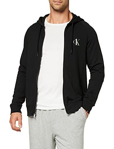 Calvin Klein Full Zip Hoodie Sudadera con Capucha, Negro (Black 001), L para Hombre