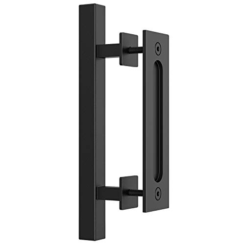HomLux Heavy Duty 12' Pull and Flush Barn Door Handle Set, Ergonomic Modern Design, Classic Round Handle of American Style, Frosted Black Surface Treatment-Square