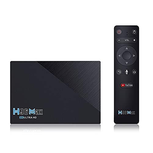 GEQWE Android 11.0 TV Box, H96 MAX 8GB RAM 64GB ROM, RK3566 Quad-Core 64Bits Arm Cortex-A53 @ hasta 1.5 GHz Admite 2.4G / 5G Dual WiFi / 8K / BT 5.0 / 3D / USB 2.0 / H.265 Smart TV Box