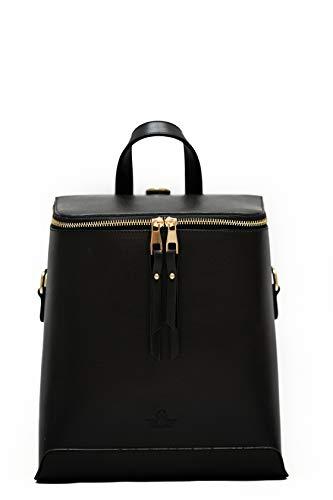 ESMAY Sydney - Handgefertigte vegane Ledertasche | 4-in-1-Handtasche, Umhängetasche, Rucksack (Schwarz)