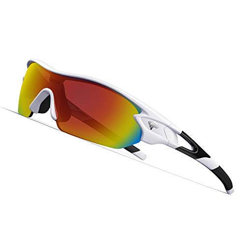 Torege Polarized Sports Sunglasses With 3 Interchangeable Lenes for Men Women Cycling Running Driving Fishing Golf Baseball Glasses TR002 (White&Black)