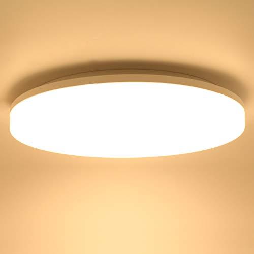 Lamker 24W LED Lámpara de Techo Redonda LED de Baño Plafón Impermeable IP44 Φ33CM 2160lm Blanco Cálido 3000K luz de techo para Baño Dormitorio Cocina Sala de Estar Comedor Balcón Pasillo Oficina