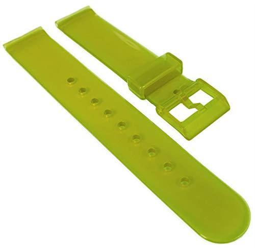 HIRSCH Correa de reloj de 18 mm  plástico, verde  hebilla   transparente   36680