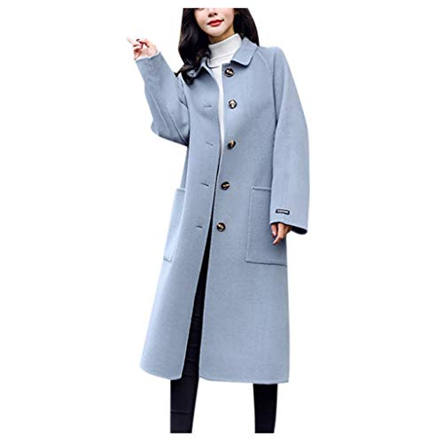 Deloito Winter Übergangs Parka Outwear Damen Vintage Trenchcoat Büro Arbeit Freizeit Lose Windjacke Langarm Knopf Wollmantel Lange Wolljacke (B-Blau,Medium)