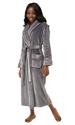 Women's Plush Soft Warm Fleece Bathrobe, Comfy Womens Robe