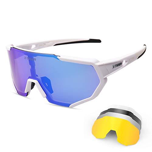 X-TIGER Radbrille Polarized Sonnenbrille Tr90 Superlight Frame mit 3 oder 5 Wechselgläsern UV400-Schutz für Herren und Damen,zum Radfahren Skifahren Autofahren Fischen Laufen Wandern Sport