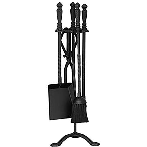 Wrought Iron Heavy Duty 5 Pcs Fireplace Tools Sets, Stove/Fire Pit/Outdoor/Indoor Black Log Holder Stand, Poker Tongs Shovel Broom and Stand