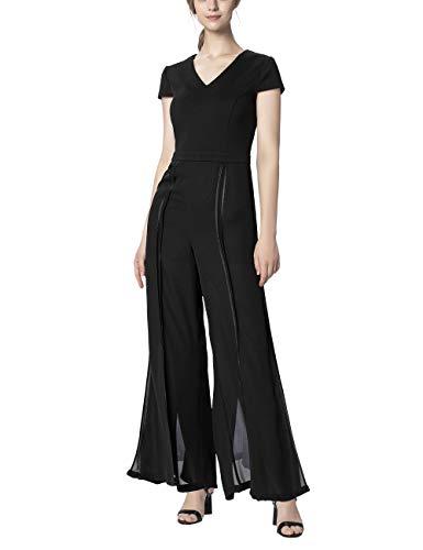 APART eleganter Damen Overall, Jumpsuit, schwarz, Baumwolle und Chiffon, Weite Beinform hoch geschlitzt, schwarz, 38