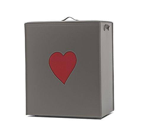 Adele: Panier à Linge en Cuir Couleur Tourterelle, avec Un Coeur Rouge, avec Sac à Linge Amovible, Rangement et Organisation Made in Italy by Limac Design®