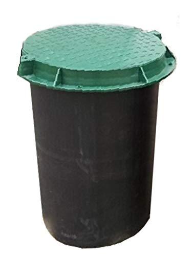 Brunnenschacht, Verteilerschacht, Kontrollschacht, Revisionsschacht, Erdschacht aus Kunststoff komplett mit einem abschließbaren Deckel (ohne Boden) Belastung bis 1,5 t, Grün