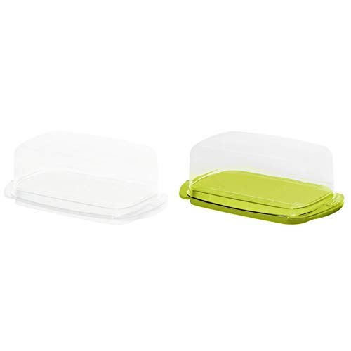 Rotho Butterdose, Kunststoff, weiß, 18x9.5x6.5 cm & Rotho 1709705070, Kunststoff, transparent/limettengrün, 18 x 9.5 x 7 cm Butterdose