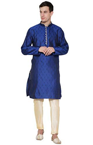 SKAVIJ Herren Tunika Kurta Pyjama Set Normale Passform Kleid (Blau, Large)