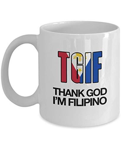 T.G.I.F. Thank God I'M Filipino Coffee Mug, White, 11 oz - Unique Gifts By IconicPassion