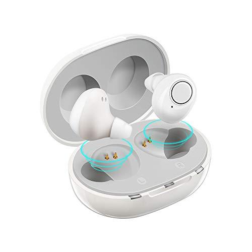 充電式集音器 音声拡聴器 Jinghao 高齢者集音器 イヤホン 軽量 耳穴式 左右両耳 軽量 コンパクトUSB充電式 きれいでクリアな音 (ホワイト)